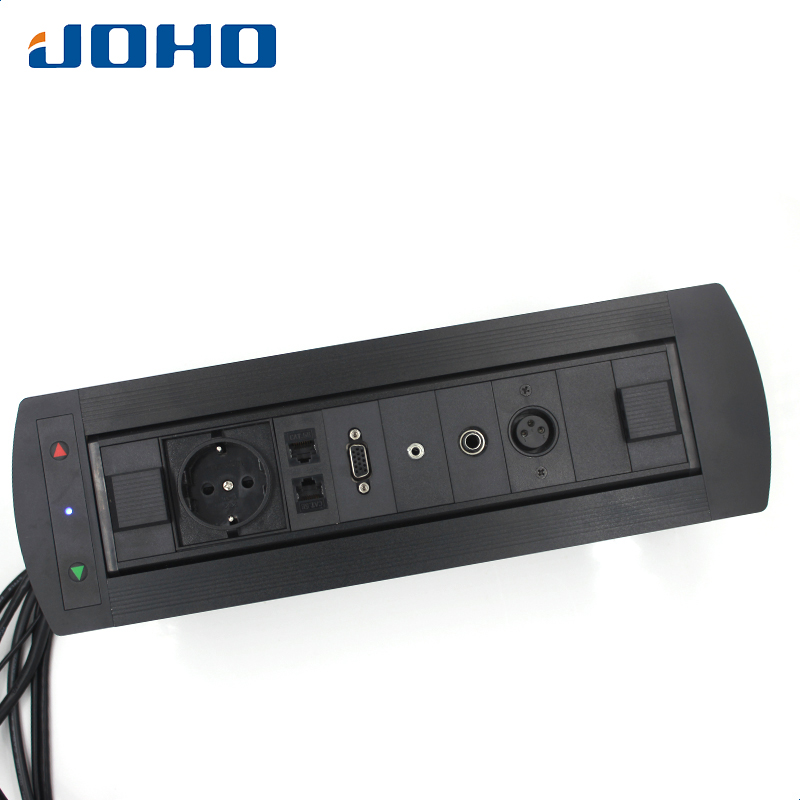 JOHO 16A Motorized Flipping Up Conference Furniture Desk Table Socket Electric Rotation Socket Aluminum Power Socket With USB