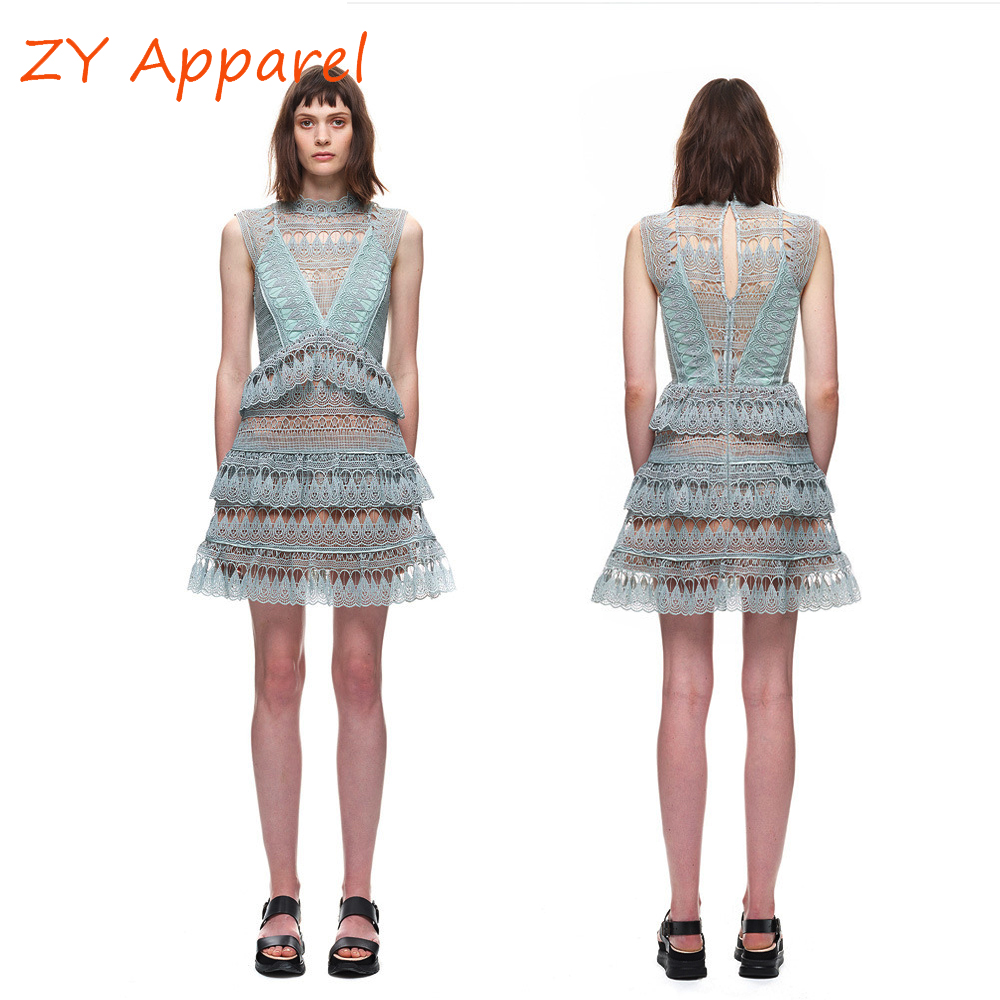 Short tiered lace dress