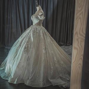 Image 4 - חתונת שמלת 2020 גברת Win את Elelgant קצר שרוול סקסי V צוואר נסיכת יוקרה תחרה רקמה בלינג בלינג חתונה שמלות F