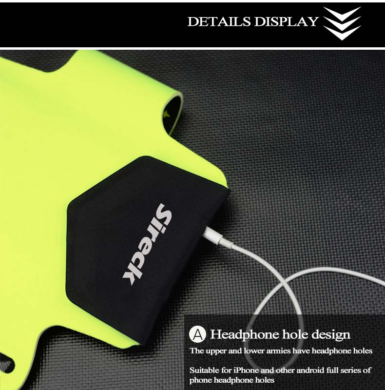 """Sireck Running Bags Touchscreen 5.0"""" 5.8"""" Armband Phone Waterproof Arms Bag Accessories Gym Sport Fitness Jogging Run Bag 45 cm 21"""