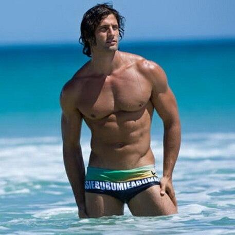 Man In Zwembroek.New Swimwear Sunga Masculina Print Men Swimming Shorts Swimsuit