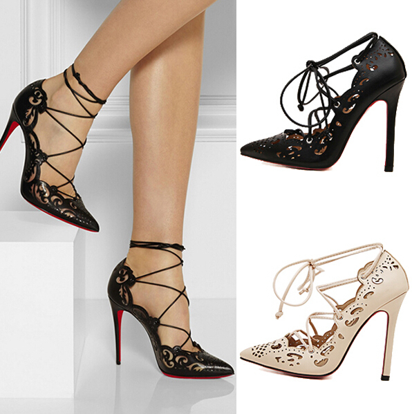 35-43 Plus Size Shoes Woman High Heels Pumps Sexy Cut-outs Women ...
