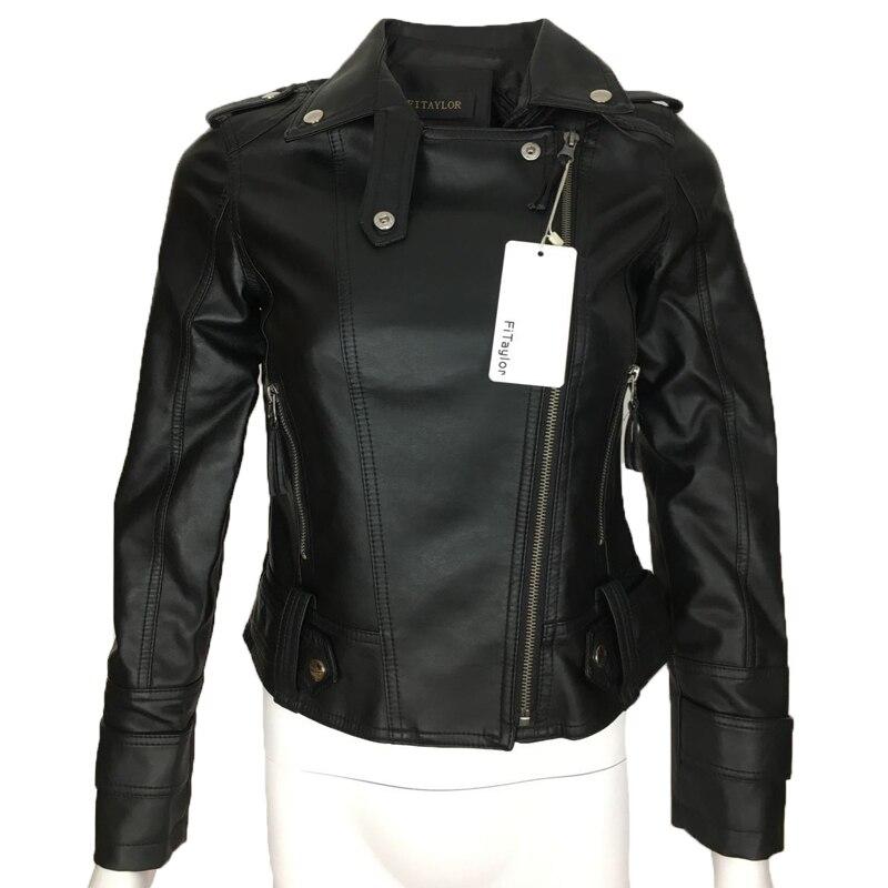 Female 19 New Design Spring Autumn PU Leather Jacket Faux Soft Leather Coat Slim Black Rivet Zipper Motorcycle Pink Jackets 4