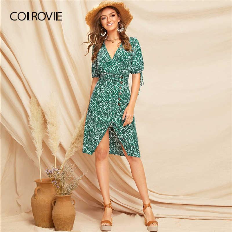 COLROVIE зеленый браслет с узелком раздельный подол Далматин чай бохо платье для женщин 2019 Лето короткий рукав длиной до колена праздничные женские платья