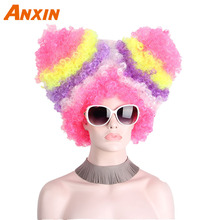 Afro Clown Wig Rainbow Coloful Big Top Fans Cat Ears Party Wigs for Women Men Kids Colorful Football Fans Synthetic Wig Hair cool nylon fans wig for brazilian world cup yellow green