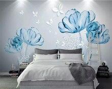 Купить с кэшбэком Beibehang Custom wallpaper 3D Hand Painted Blue flower White butterfly murals TV backdrop wall mural Wallpaper for wall 3 d