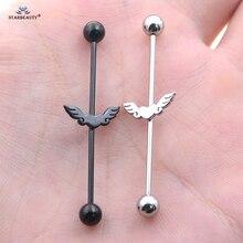 1pc 14G 38/42mm Black Drum Heart Wing Long Barbell Industrial Piercing Helix Earring Ear Piercing Stainless Steel Body Jewelry
