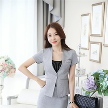 Novelty Grey Formal Uniform Design Professional Ladies Office Work Wear Blazers Summer Short Sleeve Womens Blazer Coat Tops