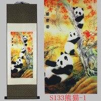 Panda wzór jedwabiu malowanie dekoracji przewiń malarstwa i nowa specjalna prezent hurtowych Pomyślny skarb #3124