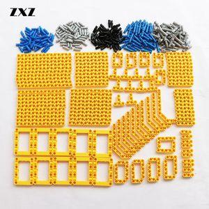 Image 2 - Bulk Bouwstenen Bricks Technic Onderdelen Liftarm Beam Connectors Pin Moc Auto Bus Trein Vliegtuig Accessoires 370 Pcs