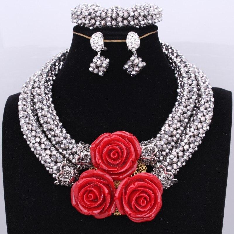 Ensemble de bijoux élégant Dubai collier en argent de mariée serti de perles de fleur de corail rouge ensemble de bijoux audacieux bijoux de perles nigérianes africaines
