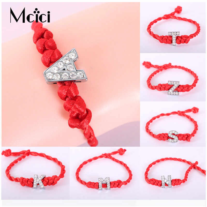 A-Z 26 Letters Red Thread String Crystal Letters Bracelets Red Rope Charm Women Lucky Bracelet Aolly Jewelry Gift For Couple