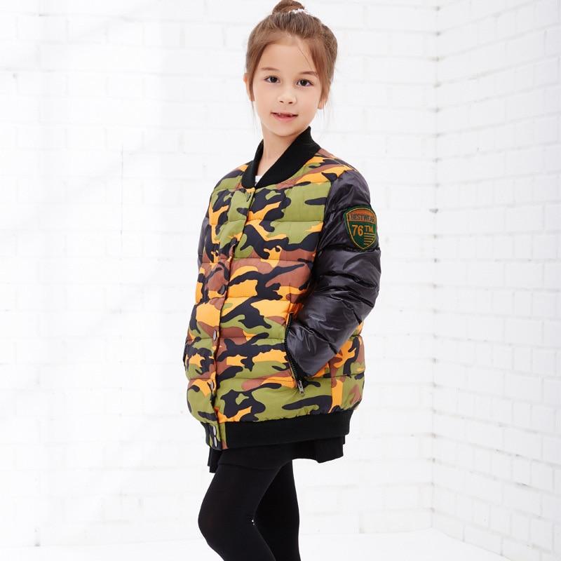 Kızlar Kış Aşağı Ceketler 2016 Yeni Çocuk Giyim Kış Kız Kamuflaj Baskı Patchwork Kalın Aşağı Ceket Kış Kız Ceket