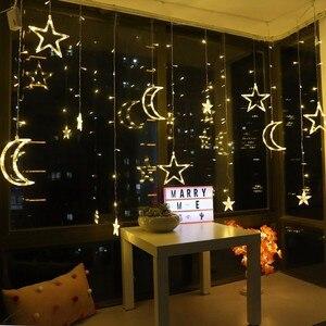 Image 4 - 220V סוללה פיות כוכב led וילון מחרוזת חתונת אורות גרלנד מסיבת חג חתונת קישוט פיית אורות חג led