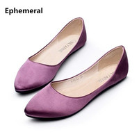 Lady Retro Plus size (4-15) Silk Satin Fashion New Style Pointed toe Women Casual Flats Soft Dancing Kvoll shoes Zapatos Mujer
