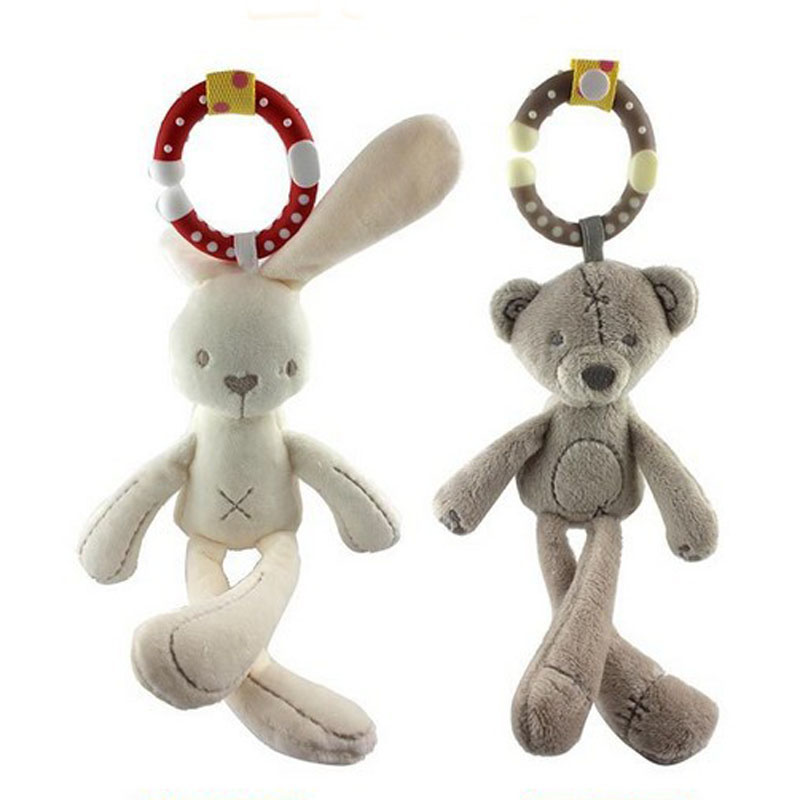 Infant Baby Rattle Cute Rabbit Stroller Wind Chimes Hanging Bell Musical Baby Toy Doll Soft Bear Bed Appease Rattles Toys G0380