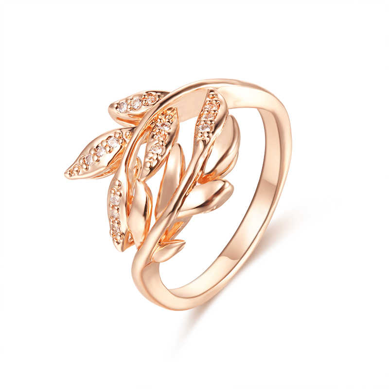 FJ Women 585 Rose Gold Color Leaf Shaped Wedding Party Ring Size 7 8 9 10