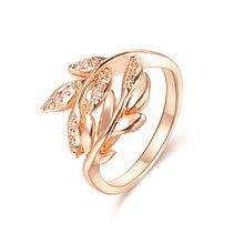 Fj feminino 585 cor de ouro rosa folha em forma de anel de festa de casamento tamanho 7 8 9 10