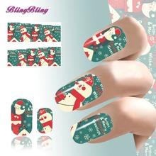 2PCS 2017 Xmas Design Nail Stickers Christmas Snow Gift Water Transfer Nails Art Sticker Foils Manicure