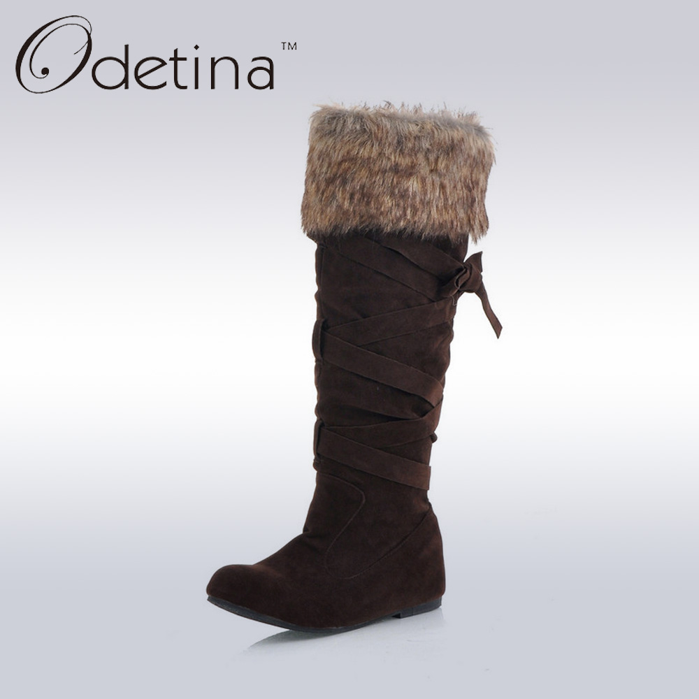 ФОТО Odetina Brand Brown Knee High Suede Boots Large Size Height Increasing Boots for Women 2016 Fur Shaft Long Snow Boots with Plush