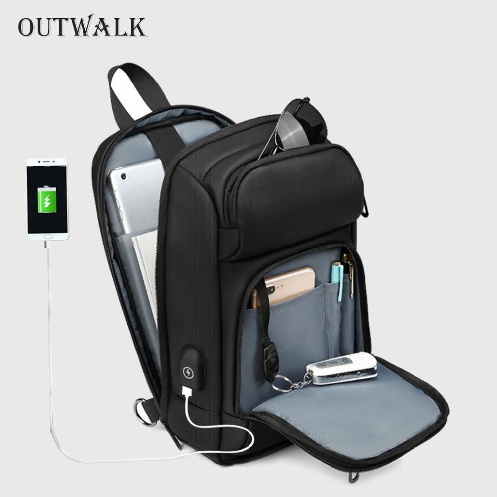 OUTWALK Black Chest Pack Men Casual Shoulder Crossbody Bag USB Charging Chest Bag Water Repellent Travel