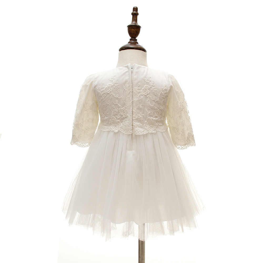שמלות רשמיות מסיבת יום הולדת נסיכת תינוק תינוקת שרוולים ארוכים שמלות כלה לפעוטות Chirstening טבילת שמלה