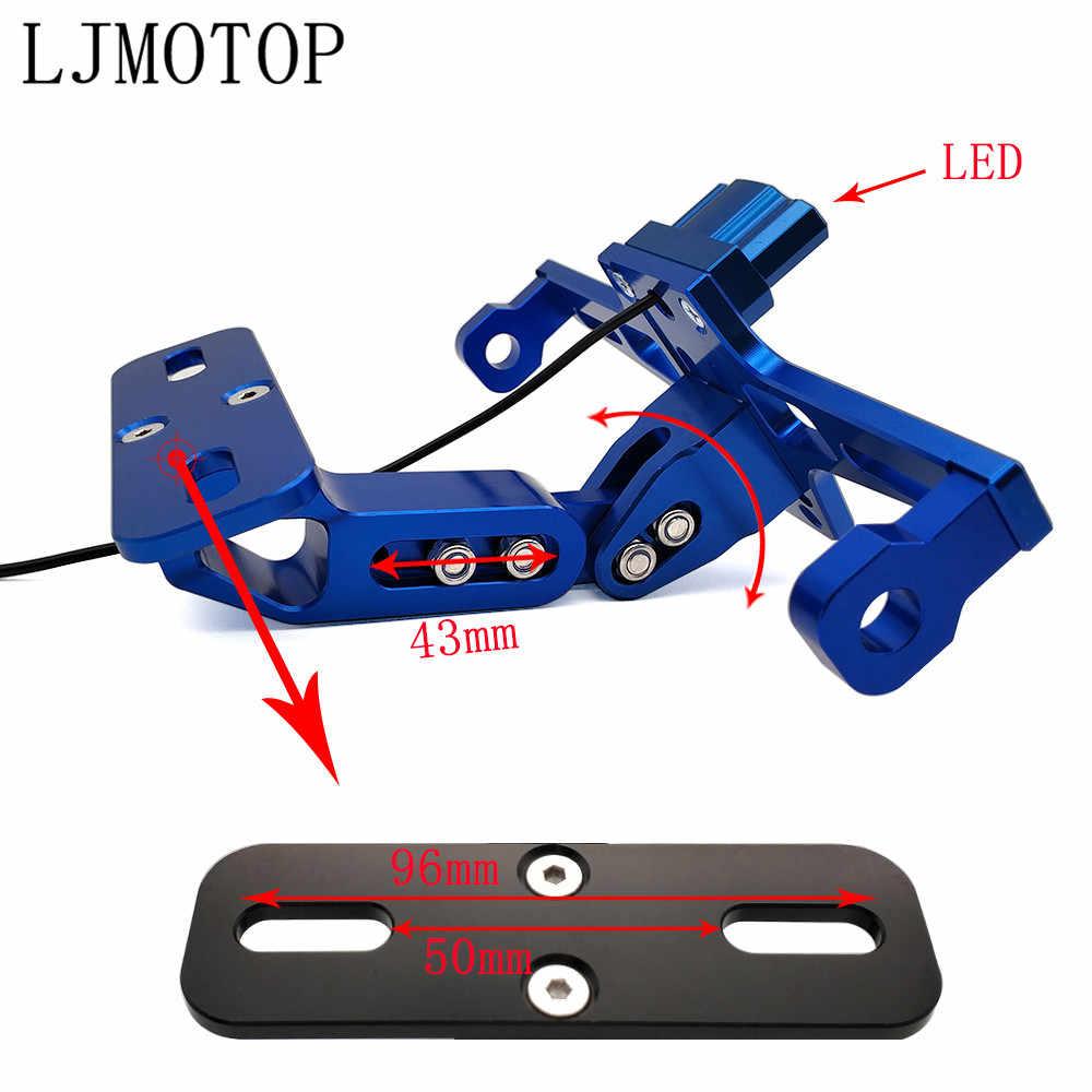 עבור ימאהה XMAX 125/250/300/400 ברזל מקס NMAX 125 R120 CNC אופנוע רישיון מספר צלחת מסגרת מחזיק סוגר עם LED אות