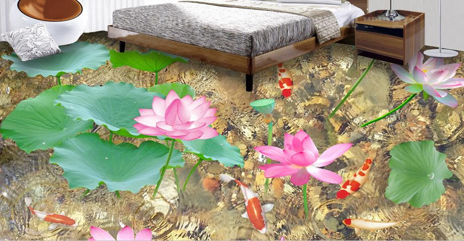 3 d pvc flooring custom wallpaper Lotus pond carp self adhesive wallpaper 3d flooring falling for living room free shipping pond carp lotus chinese style 3d flooring non slip waterproof thickened bathroom lobby living room flooring mural