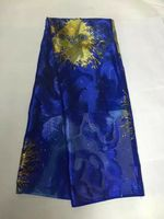 5Yards/pc Beautiful royal blue chiffon silk lace african smooth and soft silk fabric with rhinestone for dress JS32 3