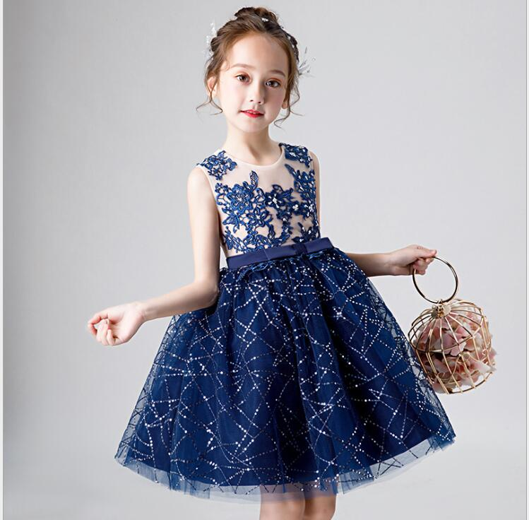 Sequin Flower Girl Dress for Girls Tulle Dresses Birthday Party Wedding Ceremonious Baptism Clothes First Communion
