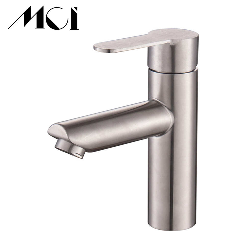 Bathroom Faucet Lead free SUS304 Stainless Steel Brushed Water Mixer Sink Basin Tap Hot And Cold Water Torneira Bath Mixer Taps-in Basin Faucets from Home Improvement    1