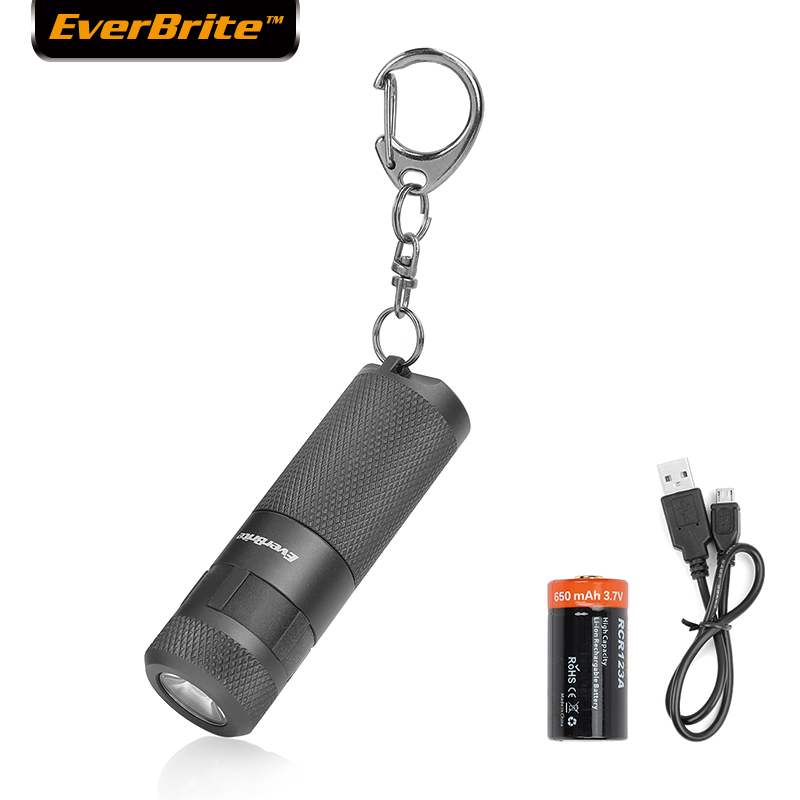 EverBrite LED Flashlight USB Rechargeable Torch Mini Aluminium Pocket Torch Keychain IP65 Waterproof EDC Portable 16340 160LM(China)