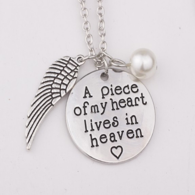 3pcs A piece of my heart lives in heaven Retro Silver color flower Pendant Necklace with Forever Christmas Day Gift image