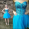 W122920 Fashionable A Line Sweetheart Short Blue Tulle Beaded Cheap Cocktail Dresses New Design Homecoming dress
