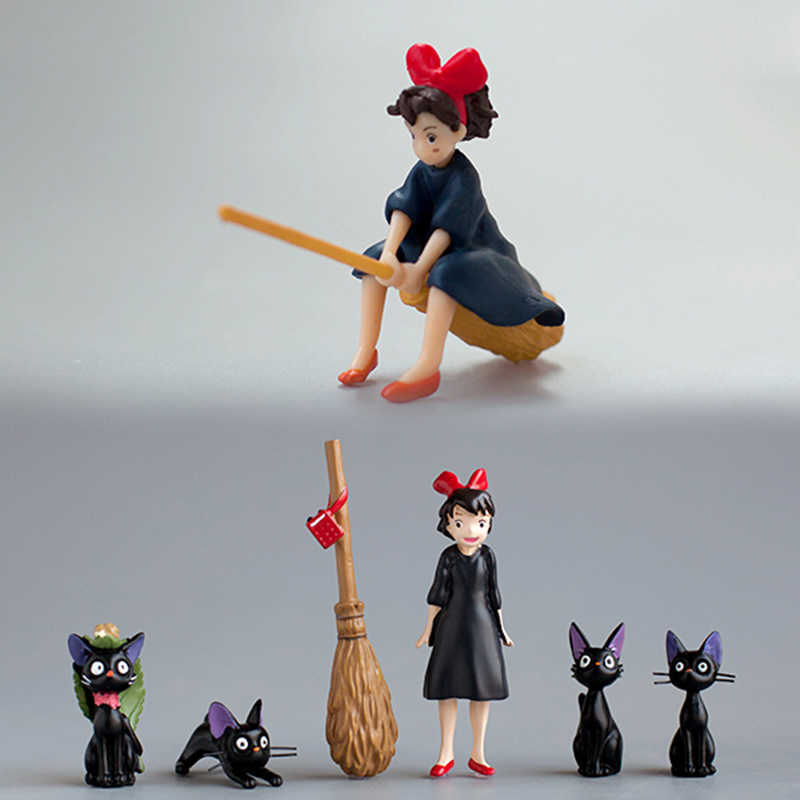 INKANEAR Little Switch With Broom & Cute Black Cats Fairy Garden Miniatures Decor Terrarium Action Figurine DIY Car Ornament Toy