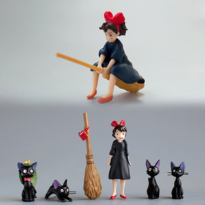 INKANEAR Little Switch With Broom & Cute Black Cats Fairy Garden Miniatures Decor Terrarium Action Figurine DIY Car Ornament Toy