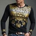 Europe and Japan Korea fashion City boy bronzing original black t shirt long sleeve t shirt cotton M~XXXL