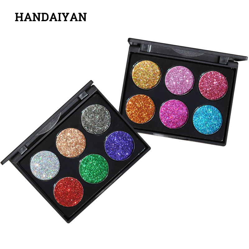 2018 Makeup 6 Colors Waterproof Glitter Eyeshadow Palette Shining Metals Powder Shimmer Eye Shadow Pigments Kits Diamond Make Up 1