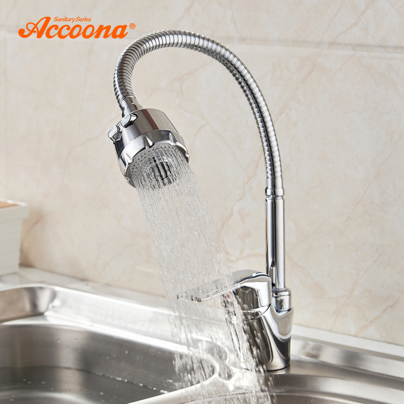 Accoona Zinc Alloy Kitchen Faucet Tube 3 kinds of Water Way Outlet Pipe Tap Basin Plumbing Hardware Brass Sink Faucets A4868(China)