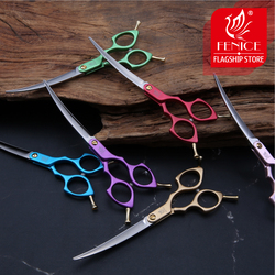 Fenice Professional Colorful 6.5 inch Curved Grooming Scissors Pet Scissor for Dogs Cats
