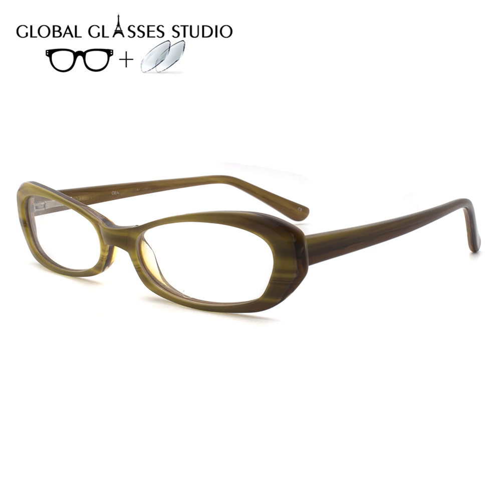 Women Or Men Acetate Glasses Frame Eyewear Eyeglasses Reading Myopia Prescription Lens 1.56 Index CT600(China)