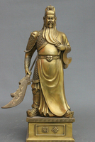 China Pure Brass Stand Warriar Di King Lion Head GuanGong Guan Yu God Statuary crafts house statue decoration