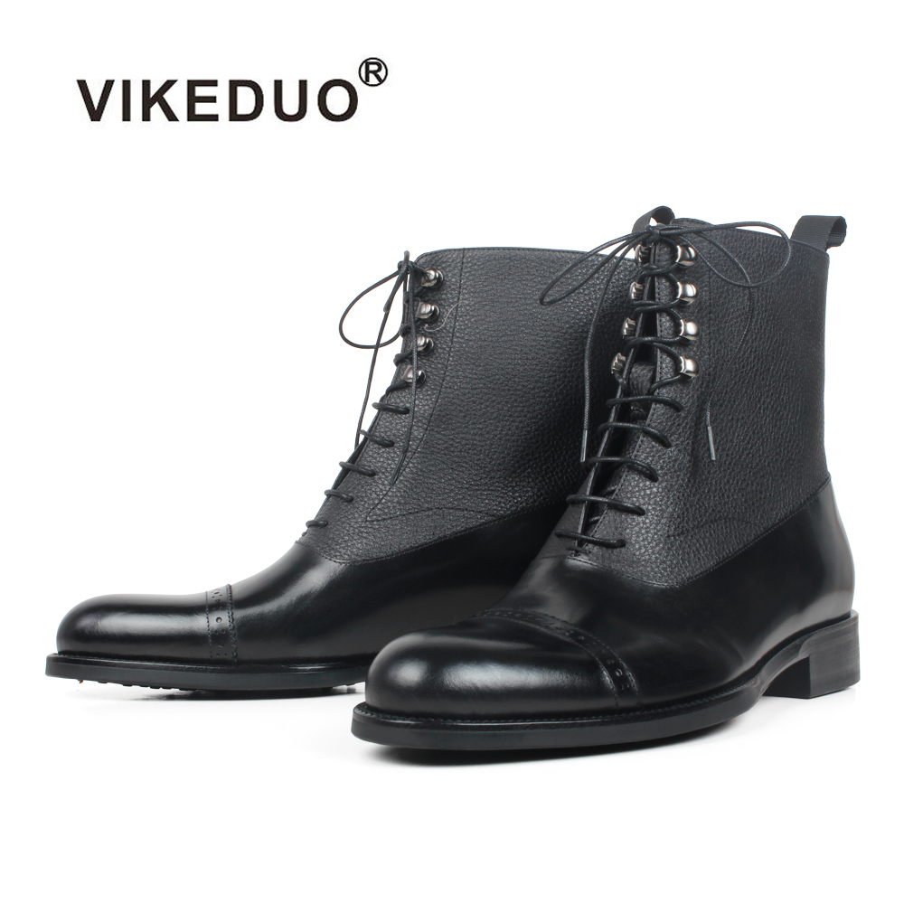 VIKEDUO Black Mans Footwear Round Toe Ankle Boots Patchwork Handmade Leather Boots Men Autumn Winter Men's Boot Botas Hombre