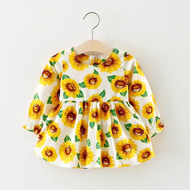 2018 New Spring Baby Girl Dress Long Sleeve Fllower Printed Cotton Dress for Girl Princess Sweet Party Dresses Baby Clothing