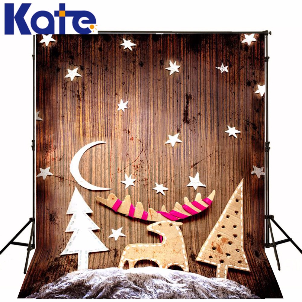 Kate Christmas Backdrops For Photography The Moon Stars Reindeer  Wood Wall Background For Children Photo Backdrop retro background christmas photo props photography screen backdrops for children vinyl 7x5ft or 5x3ft christmas033