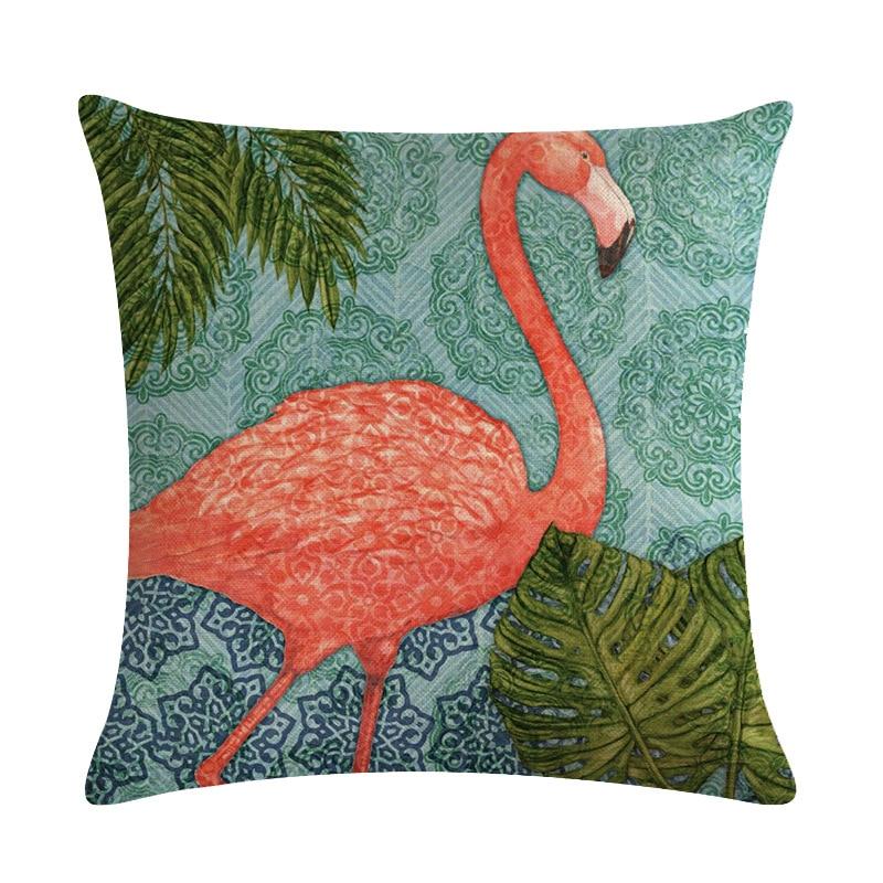 Image 2 - Cartoon Flamingo Bird Pink Cushion Cover Green Tropical Plants Print Linen Pillow Case Mediterranean Decorative Car Home Room-in Cushion Cover from Home & Garden