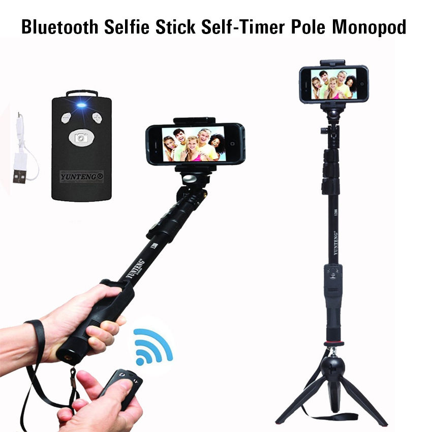 все цены на Yunteng 1288 Bluetooth Selfie Stick Original Tripod Self-Timer Pole Monopod For Samsung NOTE 9 8 S9 For Huawei Smartphone Camera
