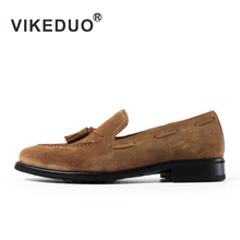 VIKEDUO Summer Casual Loafers Shoes Men 2018 Suede Handmade Men's Shoes Tassel Wedding Office Fashion Sapato Hot Footwear Zapato