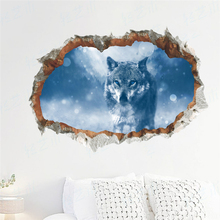 3d effect snow wolf animal broken wall stickers home decor living room 50*70cm landscape decals pvc mural art diy posters