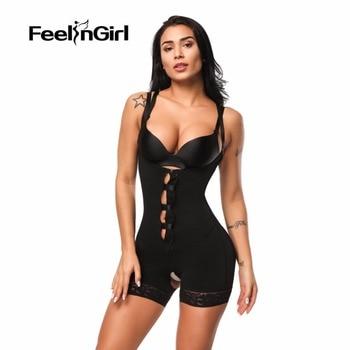 FeelinGirl Women Body Shaper Lingerie Open Crotch Corset Butt Lifter Bodysuit Zipper Underbust Push Up Slimming Waist Trainer-C5 1